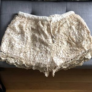 Gold/champagne lace shorts